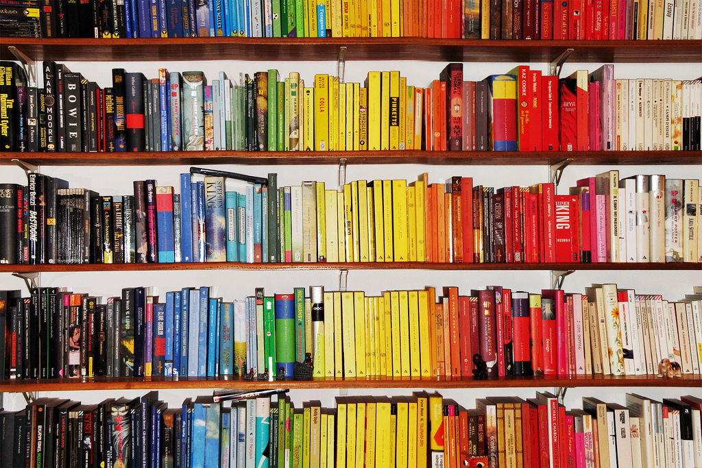 i love reading books colour coded bookshelf