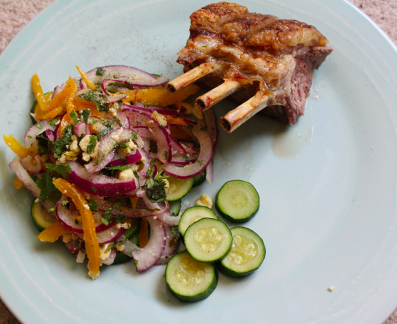 lamb rack and raw salad
