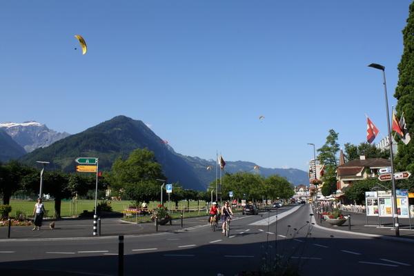 Paragliders in interlaken switzerland