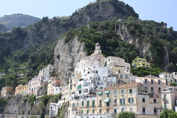 amalfi town on amalfi coast pastel buildings