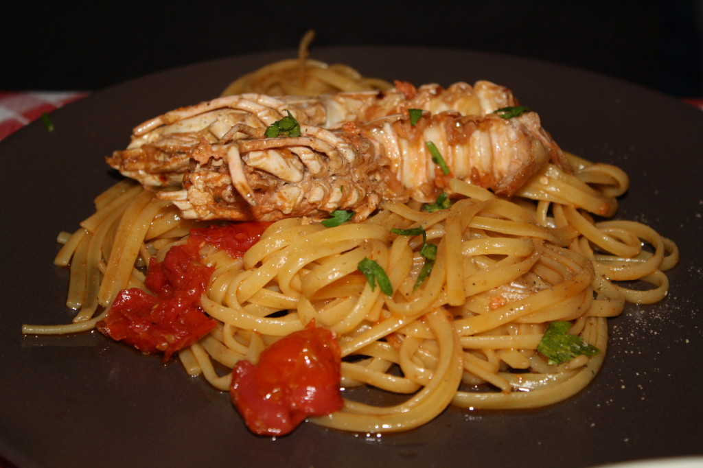 Shrimp linguini in Naples