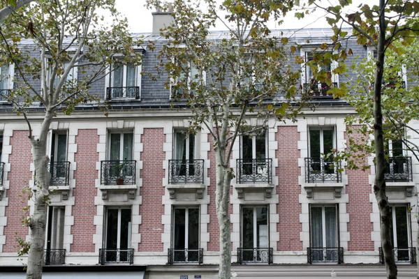 Paris residential leafy street with pink facades
