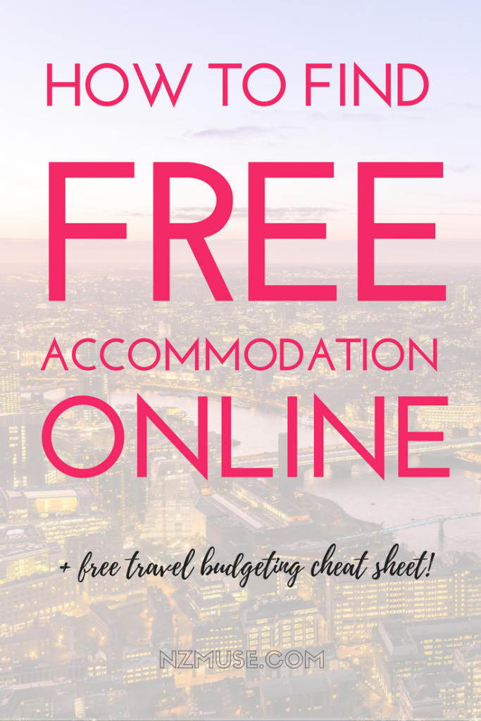 HOW TO FIND FREE ACCOMMODATION ONLINE plus cheat sheet